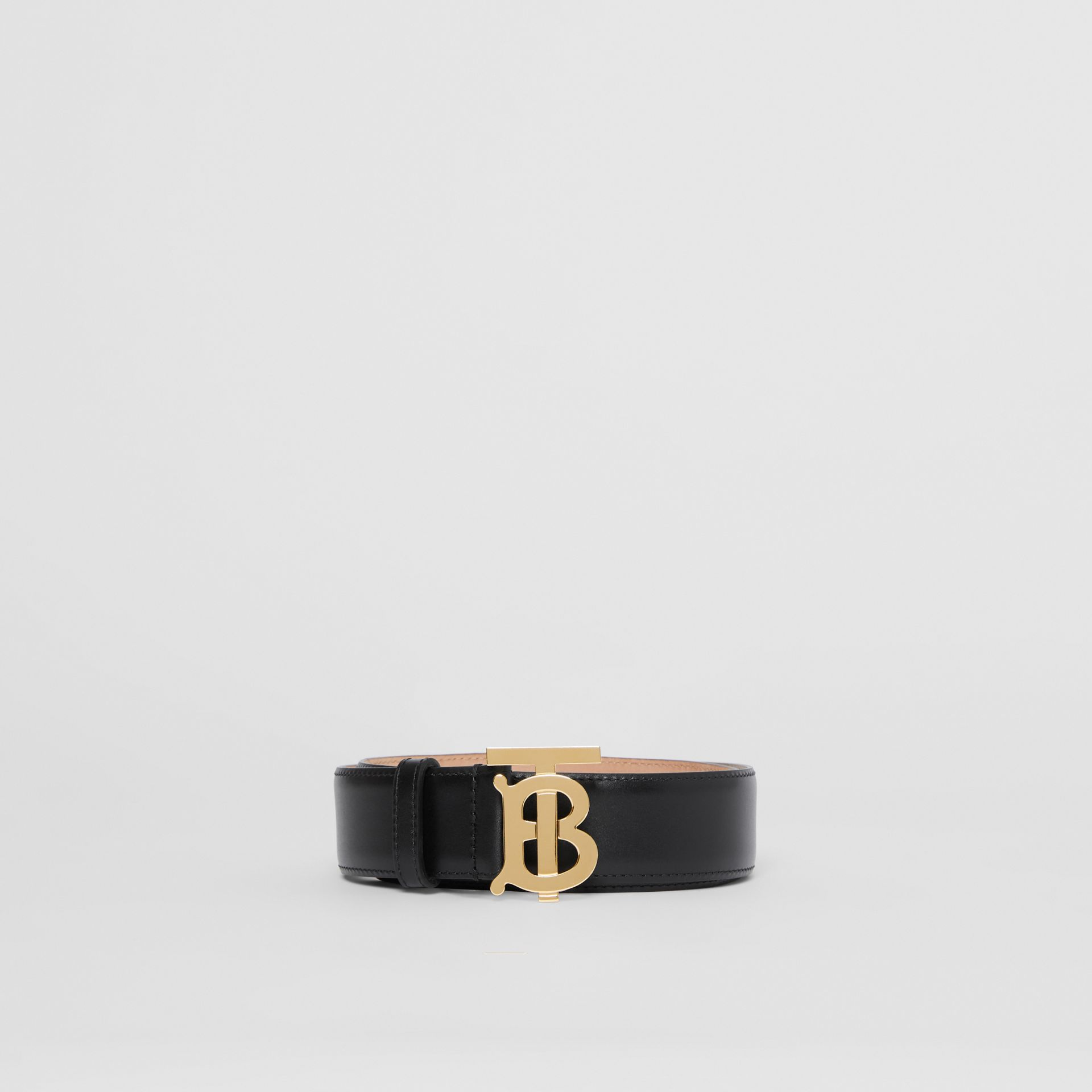 Monogram Motif Leather Belt in Black - Women | Burberry - gallery image 3