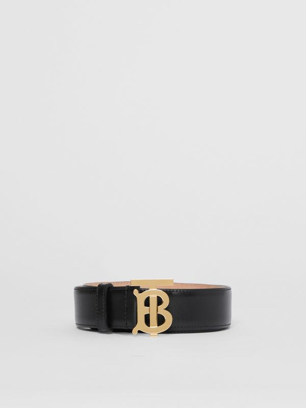 Monogram Motif Leather Belt in Black - Women | Burberry United Kingdom - cell image 3
