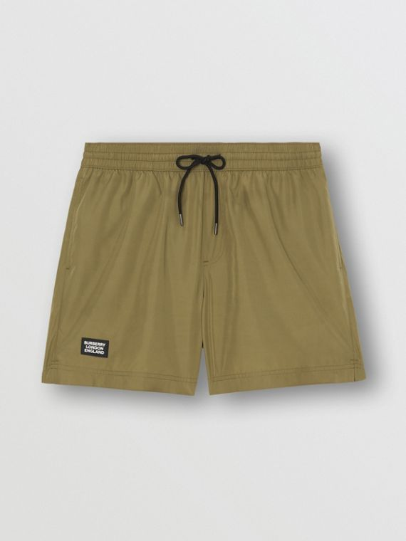 Logo Detail Drawcord Swim Shorts in Utility Green