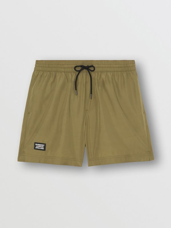 Logo Detail Drawcord Swim Shorts in Utility Green - Men | Burberry - cell image 2