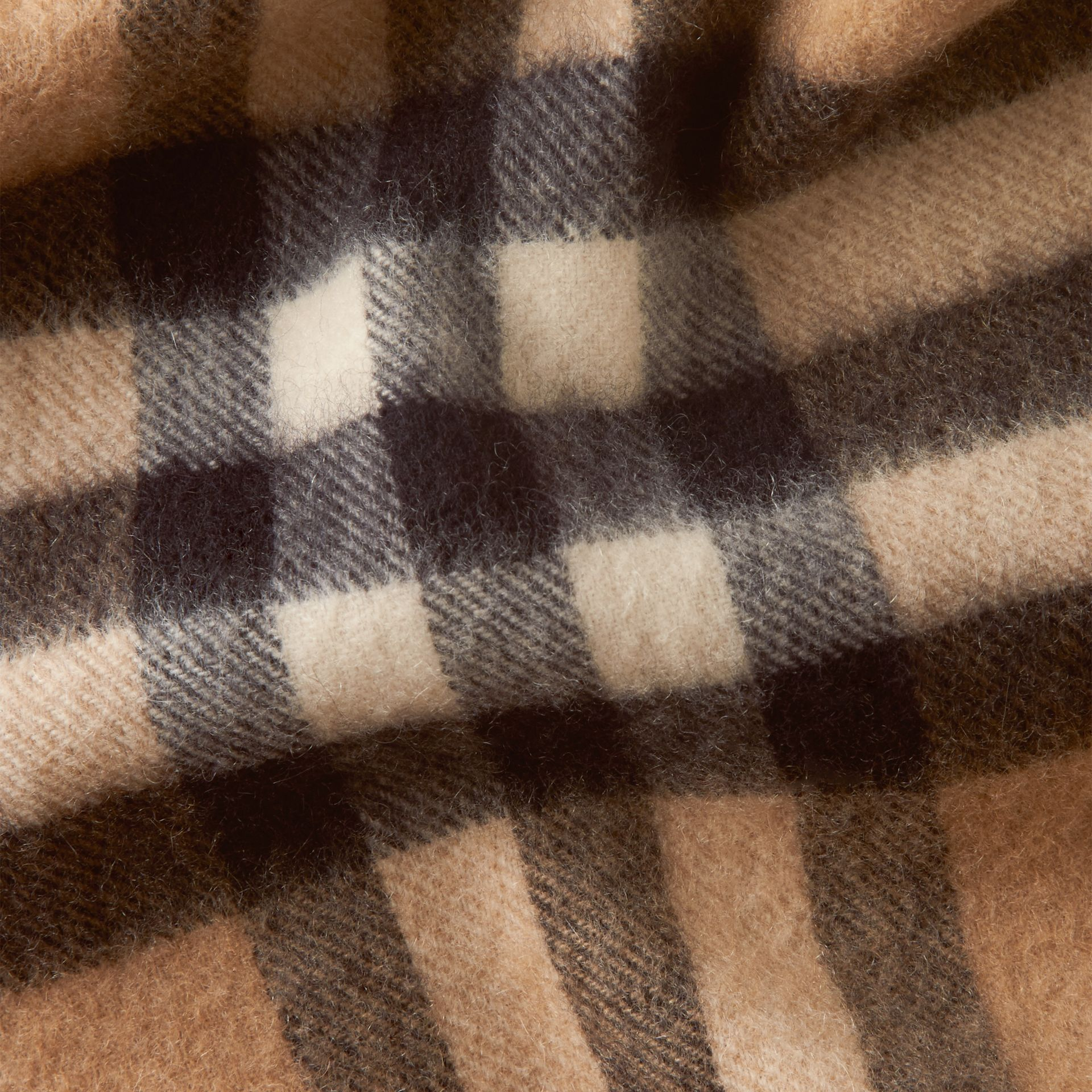 The Mini Classic Cashmere Scarf in Check in Camel - gallery image 4