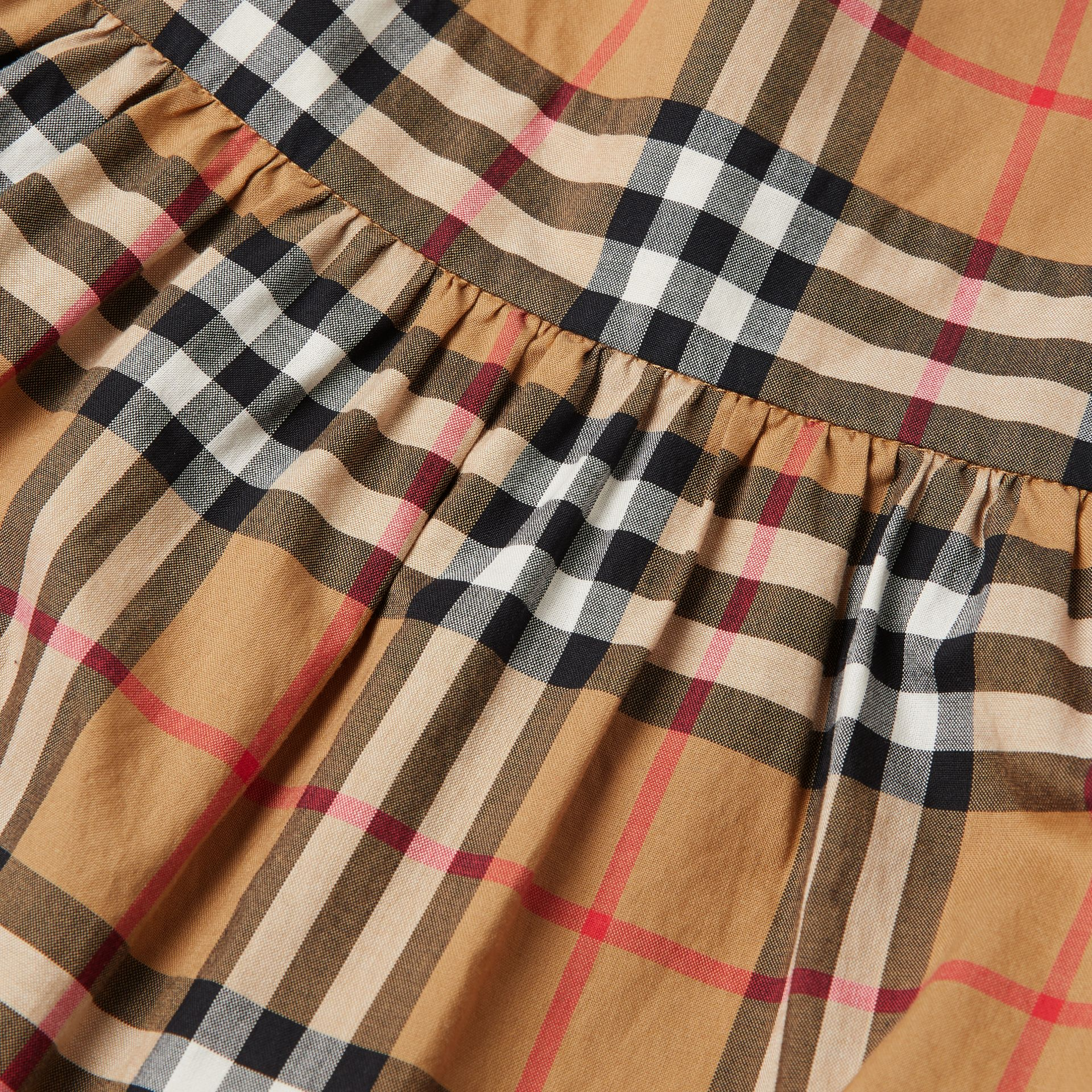 Ruffle Detail Vintage Check Cotton Dress in Antique Yellow | Burberry Singapore - gallery image 1