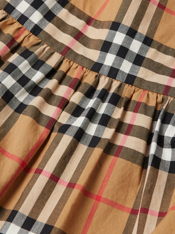 Ruffle Detail Vintage Check Cotton Dress in Antique Yellow | Burberry - cell image 1