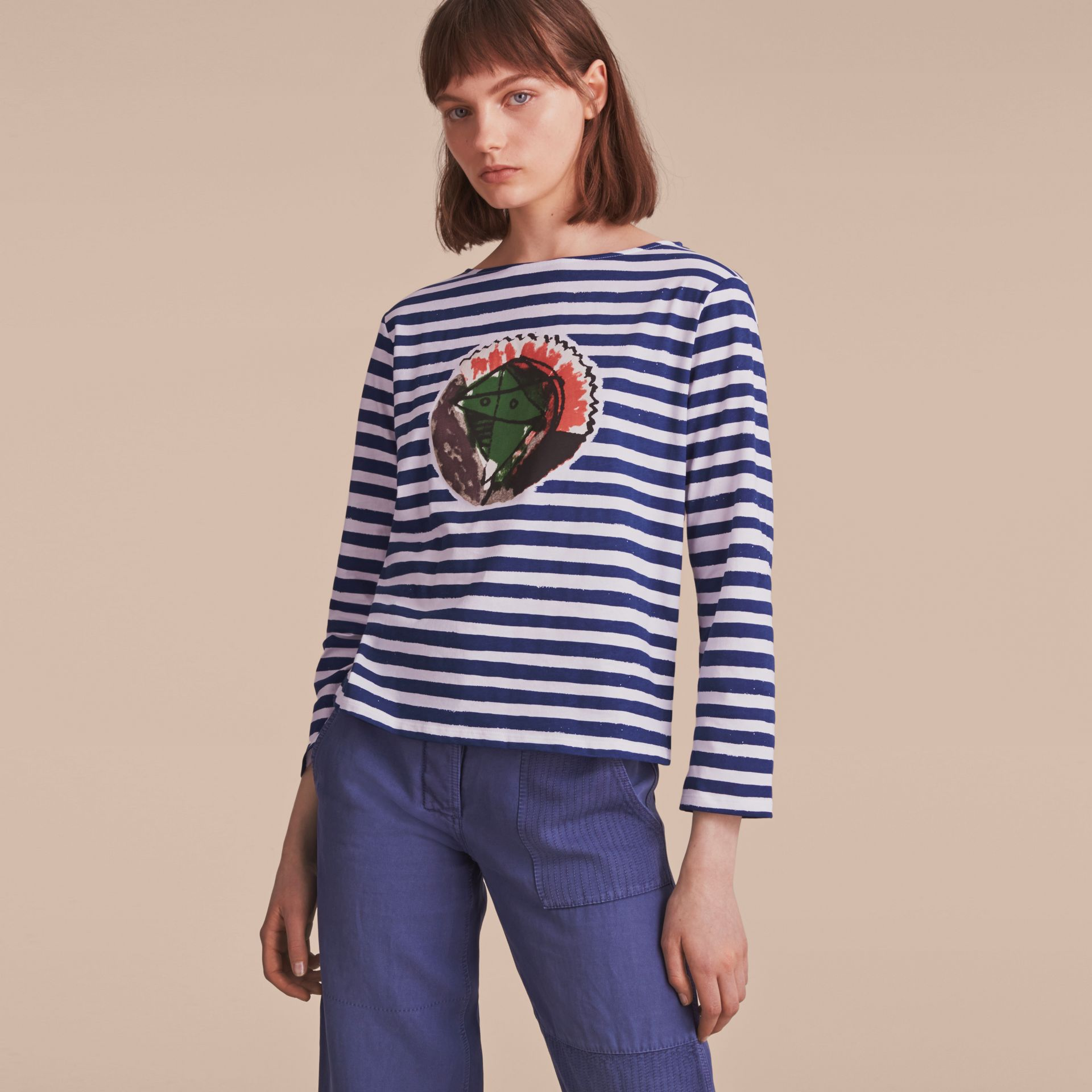 Pallas Heads Print Breton Stripe Jersey Top in Ink Blue/white - Women | Burberry - gallery image 6