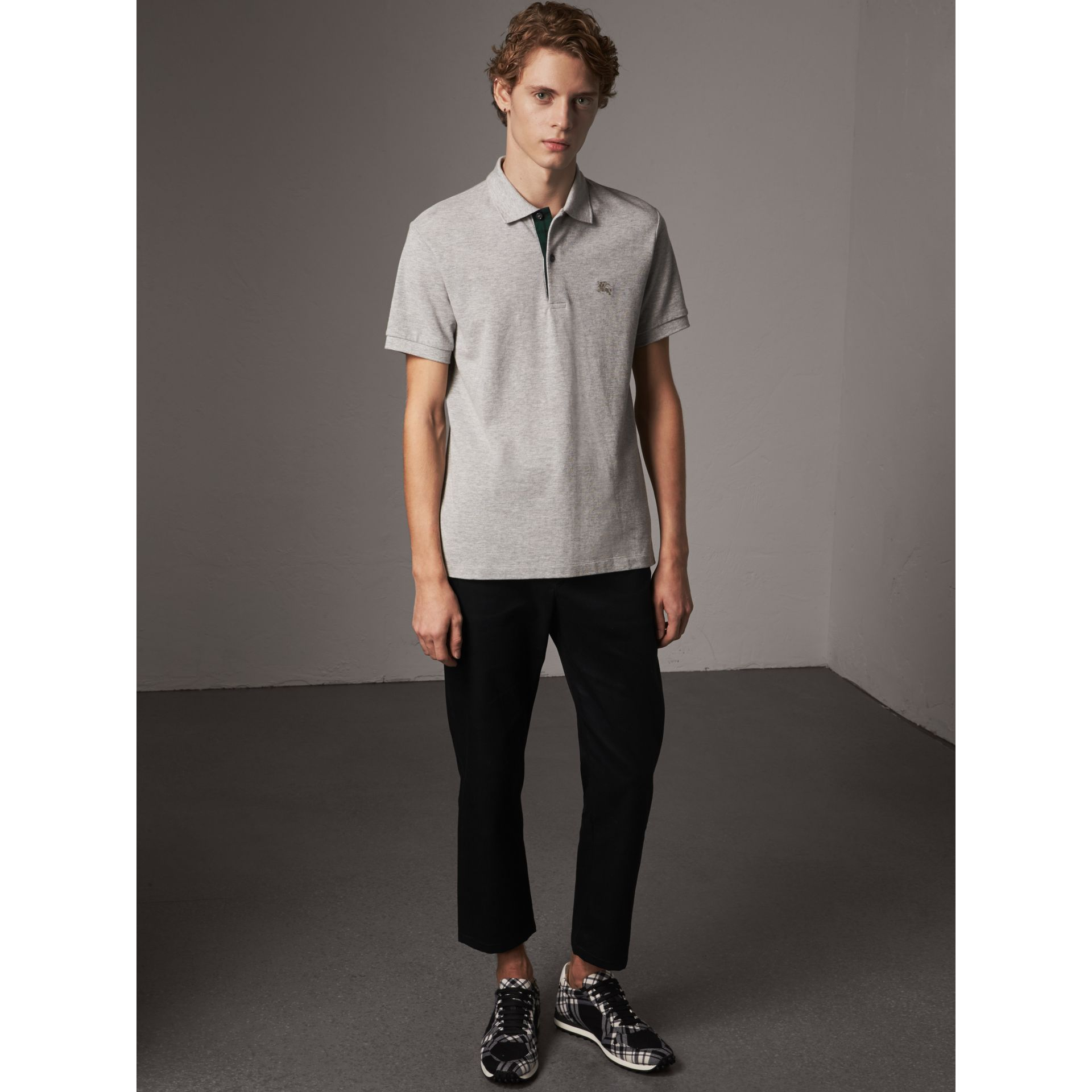 Tartan Trim Cotton Piqué Polo Shirt in Pale Grey Melange - Men | Burberry United Kingdom - gallery image 1