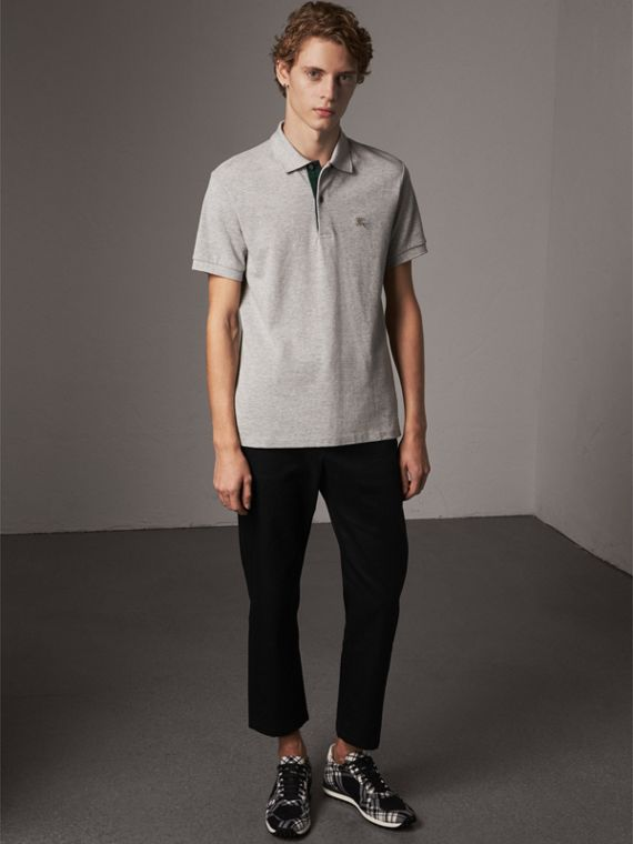 Tartan Trim Cotton Piqué Polo Shirt in Pale Grey Melange
