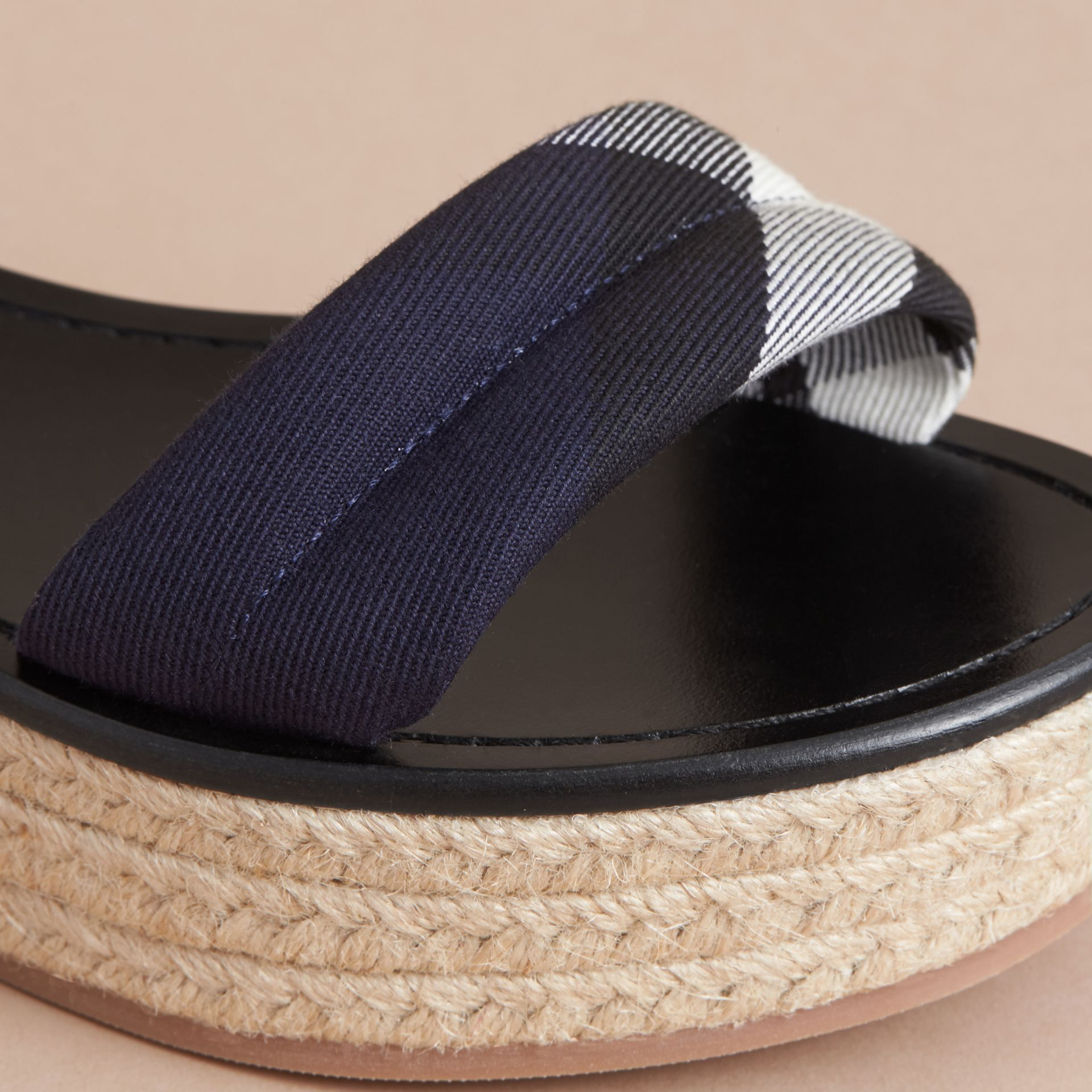 Leather and House Check Espadrille Platform Sandals Navy - gallery image 2