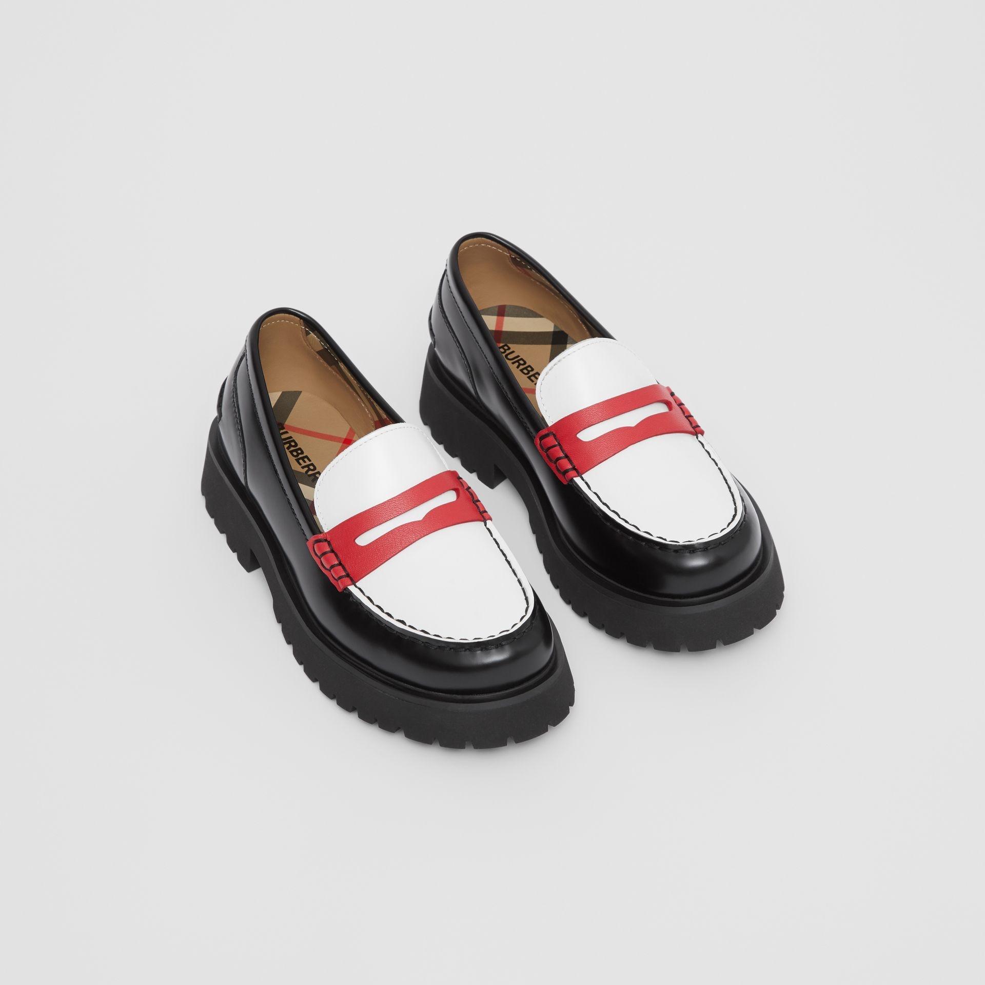 Tri-tone Leather Loafers in Optic White/red - Children | Burberry United Kingdom - gallery image 0