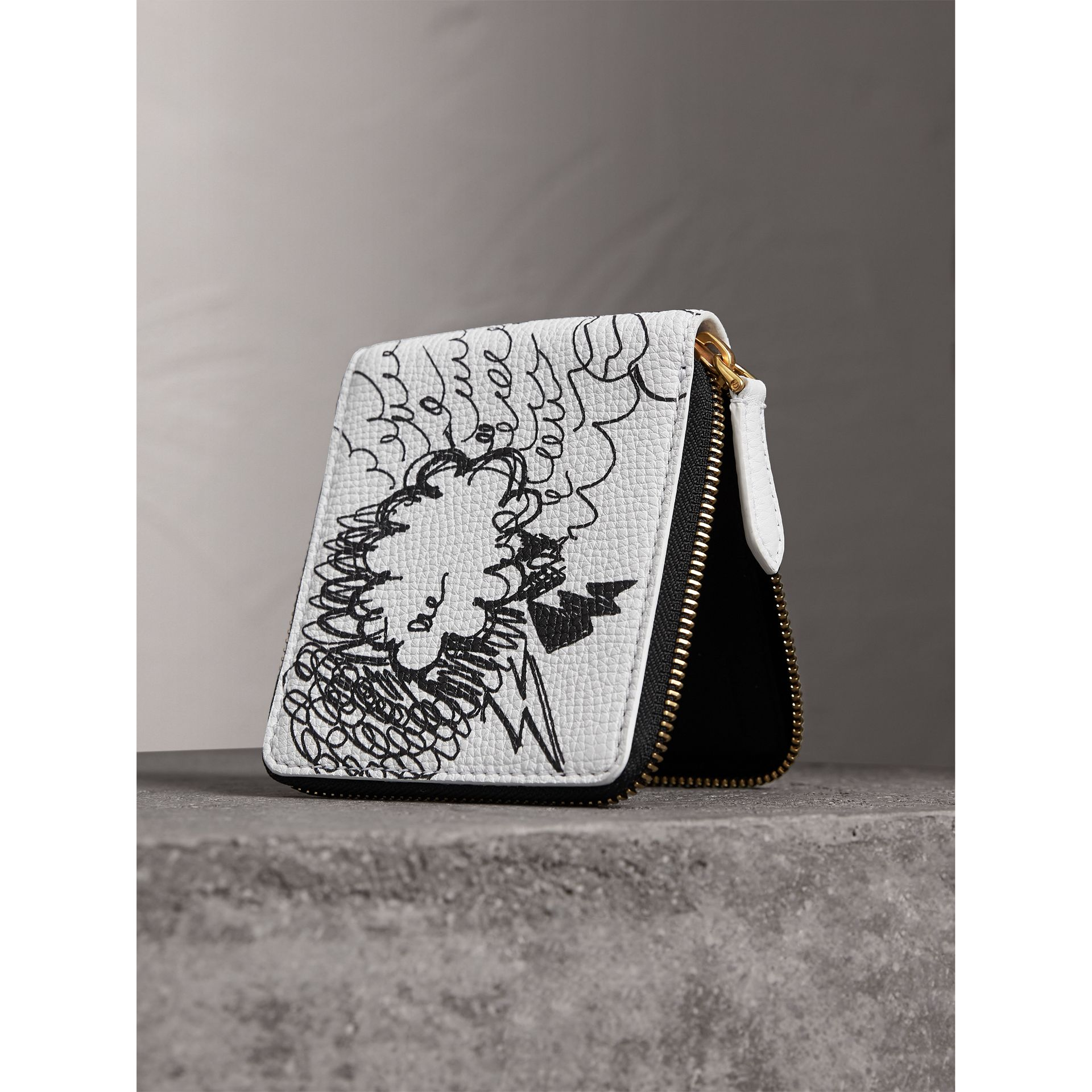 Doodle Print Leather Ziparound Wallet in White - Men | Burberry - gallery image 2