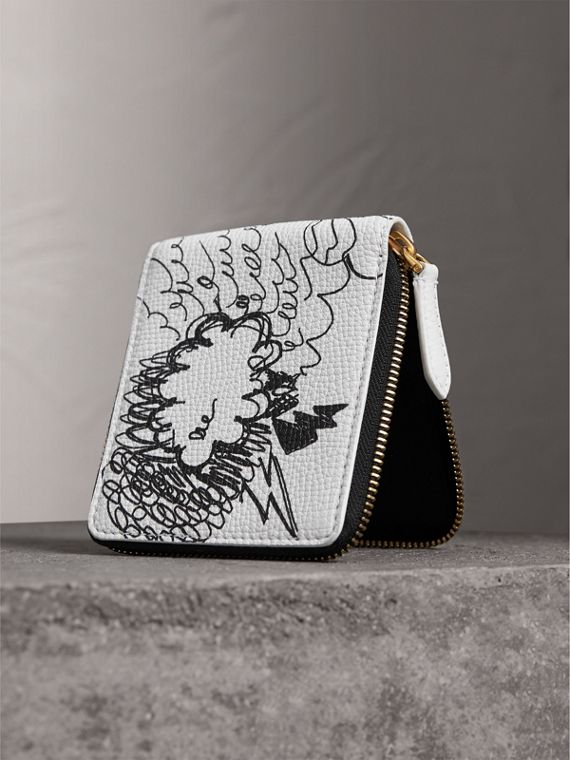 Doodle Print Leather Ziparound Wallet in White - Men | Burberry Canada - cell image 2