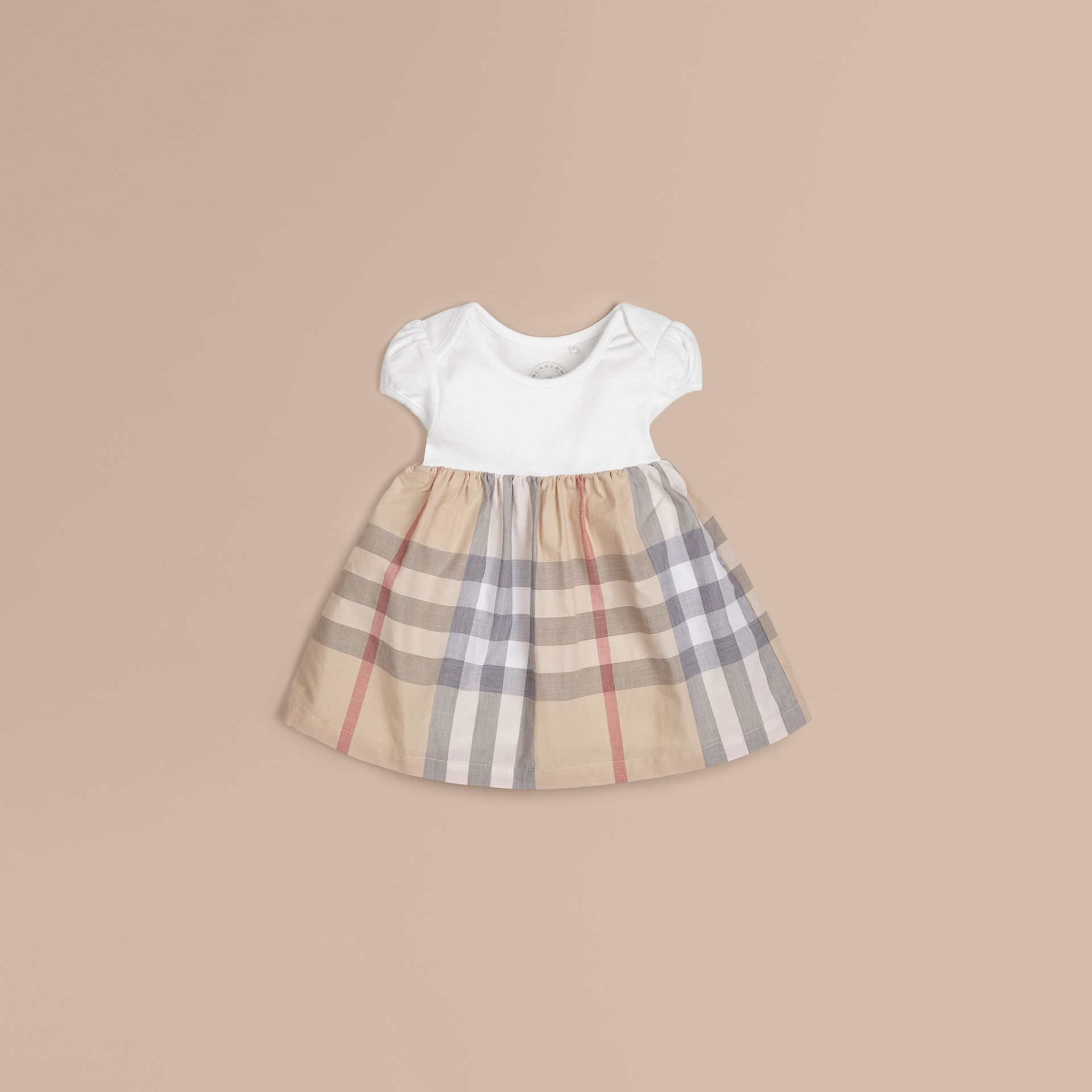 Check Detail Cotton Dress in Pale Classic - Girl | Burberry - gallery image 1