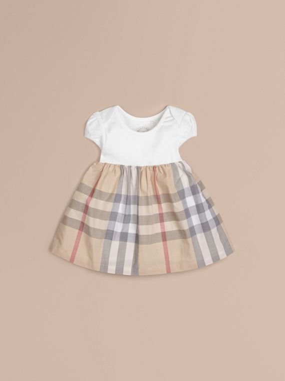 Check Detail Cotton Dress in Pale Classic - Girl | Burberry Canada