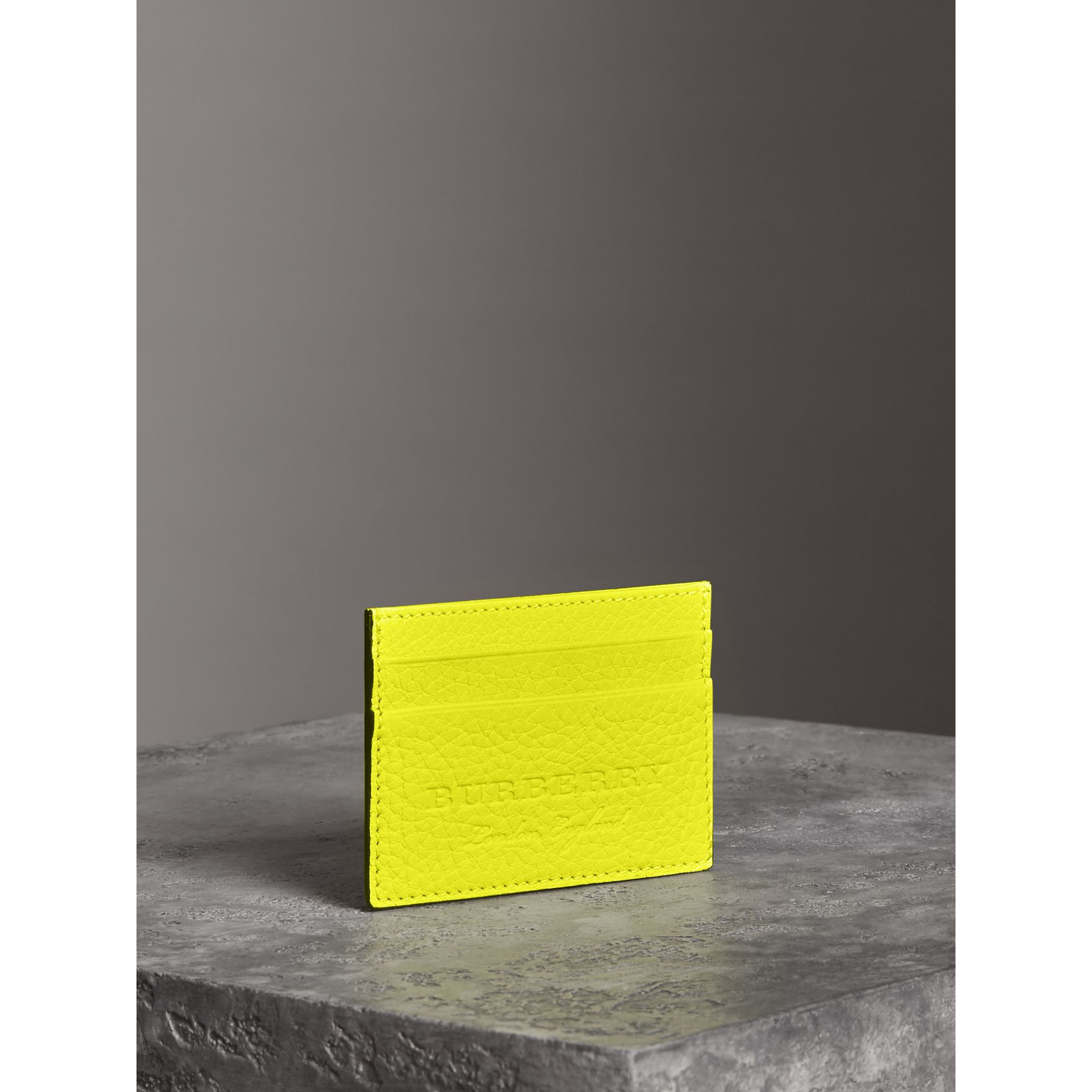 Embossed Textured Leather Card Case in Neon Yellow | Burberry - gallery image 2