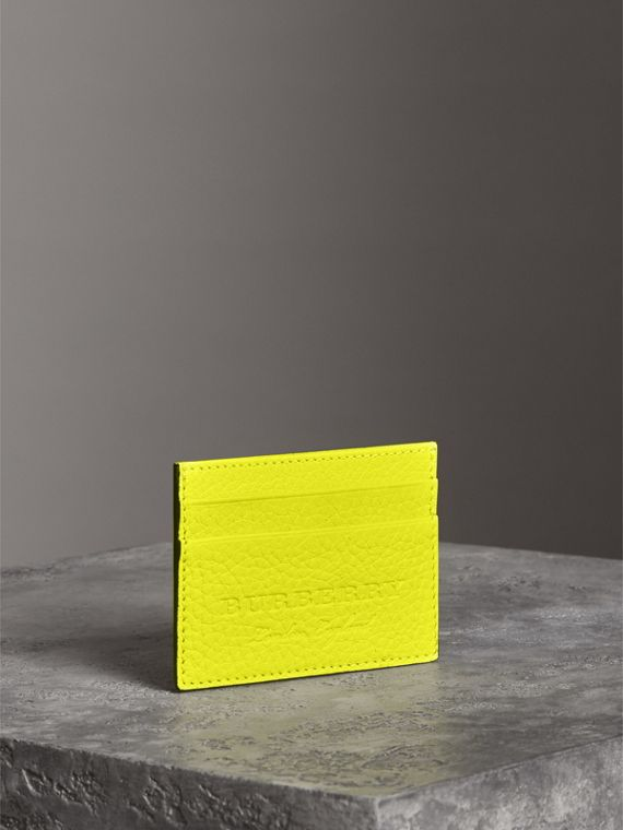 Embossed Textured Leather Card Case in Neon Yellow | Burberry Canada - cell image 2