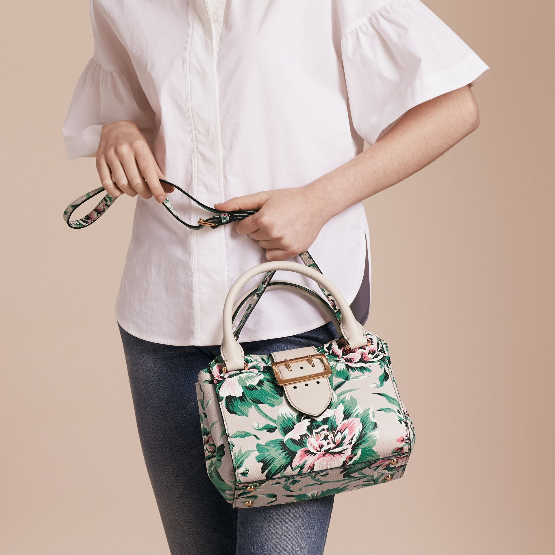 The Small Buckle Tote in Peony Rose Print Leather in Natural/emerald Green - gallery image 4