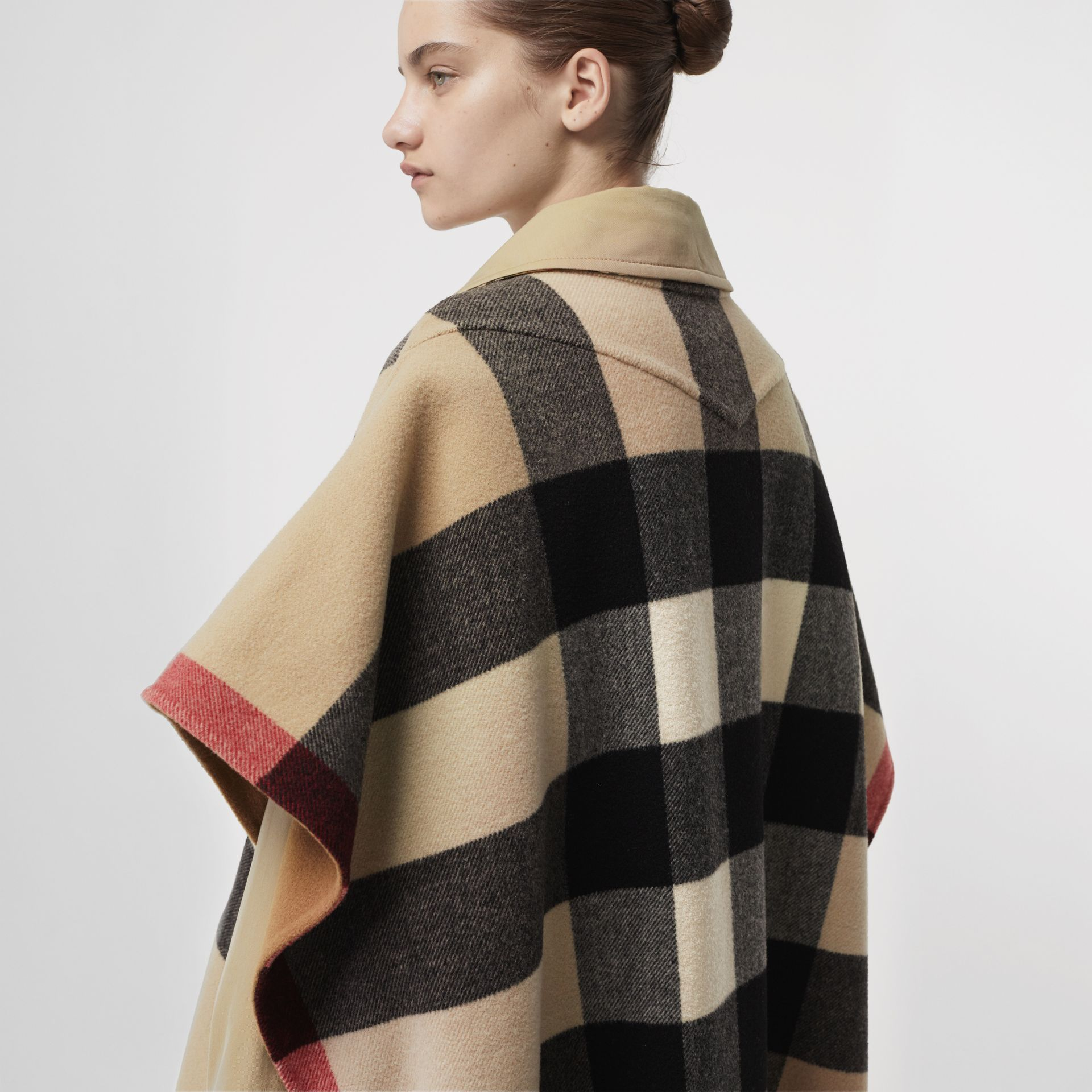 Reversible Check Wool Blend Poncho in Camel | Burberry Australia - gallery image 1