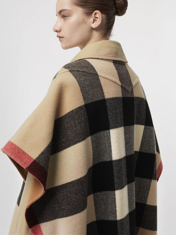 Reversible Check Wool Blend Poncho in Camel | Burberry Australia - cell image 1