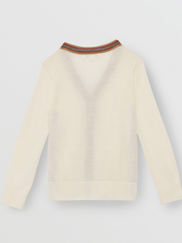 Icon Stripe Detail Merino Wool Cardigan in Ivory - Children | Burberry United Kingdom - cell image 3