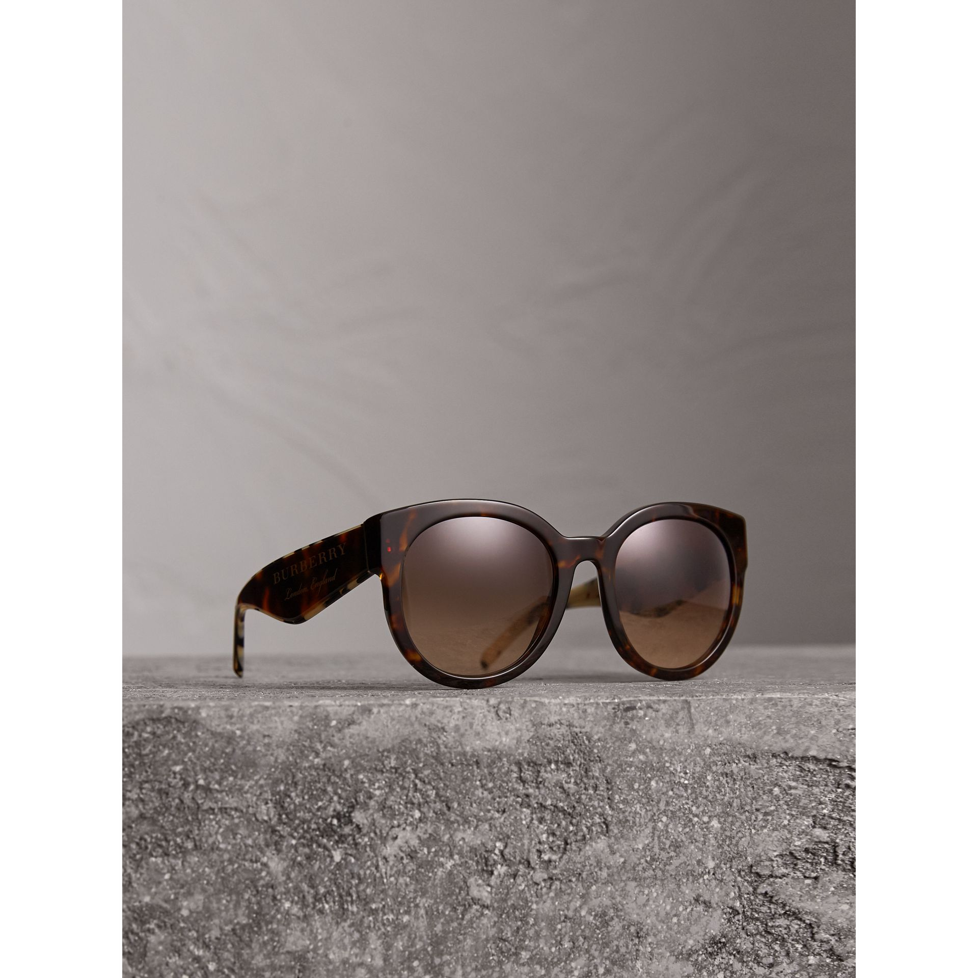 Round Frame Sunglasses in Tortoise Shell - Women | Burberry - gallery image 1