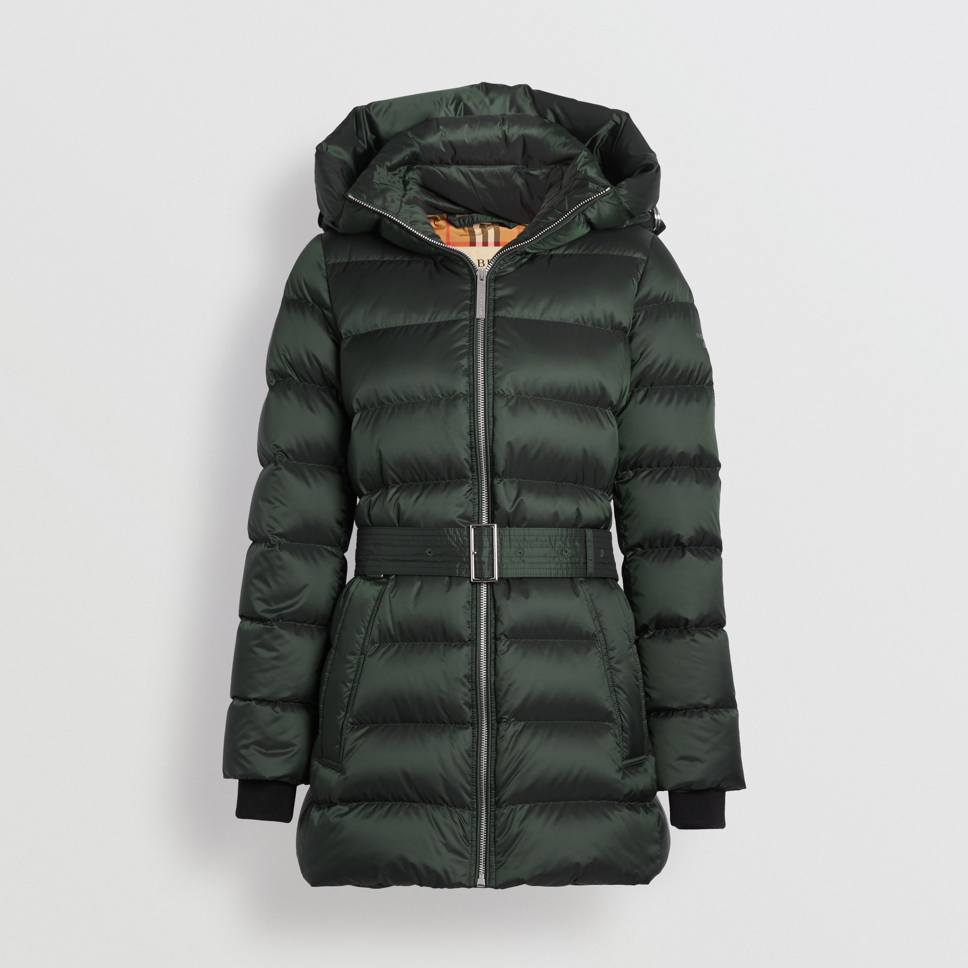 Down-filled Hooded Puffer Coat in Dark Racing Green - Women | Burberry United Kingdom - gallery image 3