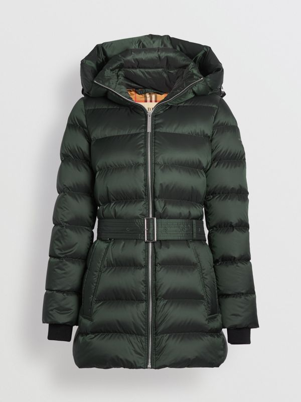 Down-filled Hooded Puffer Coat in Dark Racing Green - Women | Burberry - cell image 3