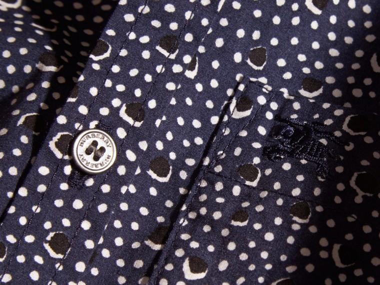 Marine Chemise en coton à col boutonné avec imprimé à pois - cell image 1