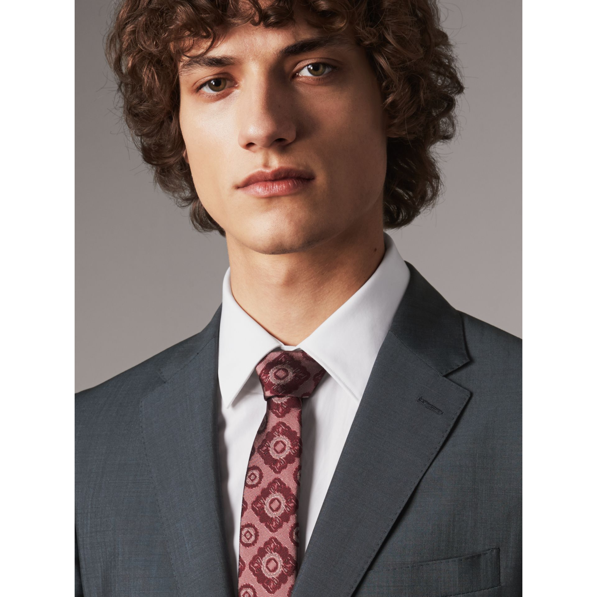Slim Cut Tiled Floral Silk Jacquard Tie in Crimson Red - Men | Burberry - gallery image 3
