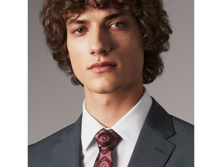Slim Cut Tiled Floral Silk Jacquard Tie in Crimson Red - Men | Burberry - cell image 2