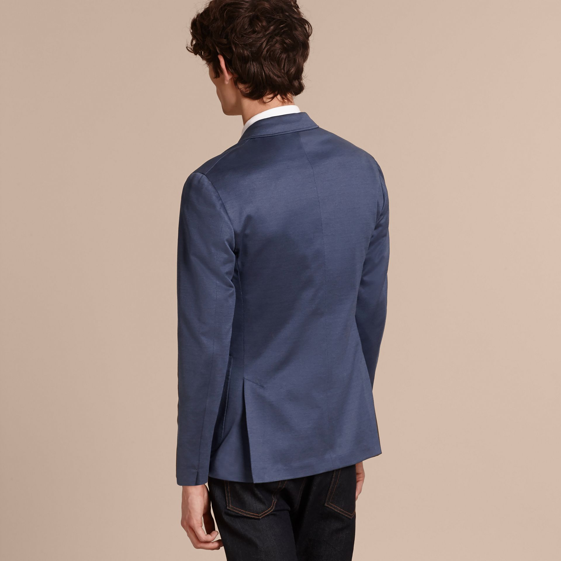 Mineral blue Slim Fit Tailored Cotton Jacket Mineral Blue - gallery image 3