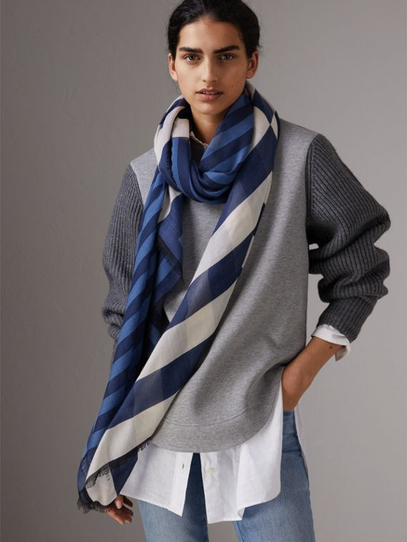 Contrast Stripe Cashmere Silk Scarf in Indigo - Women | Burberry - cell image 2