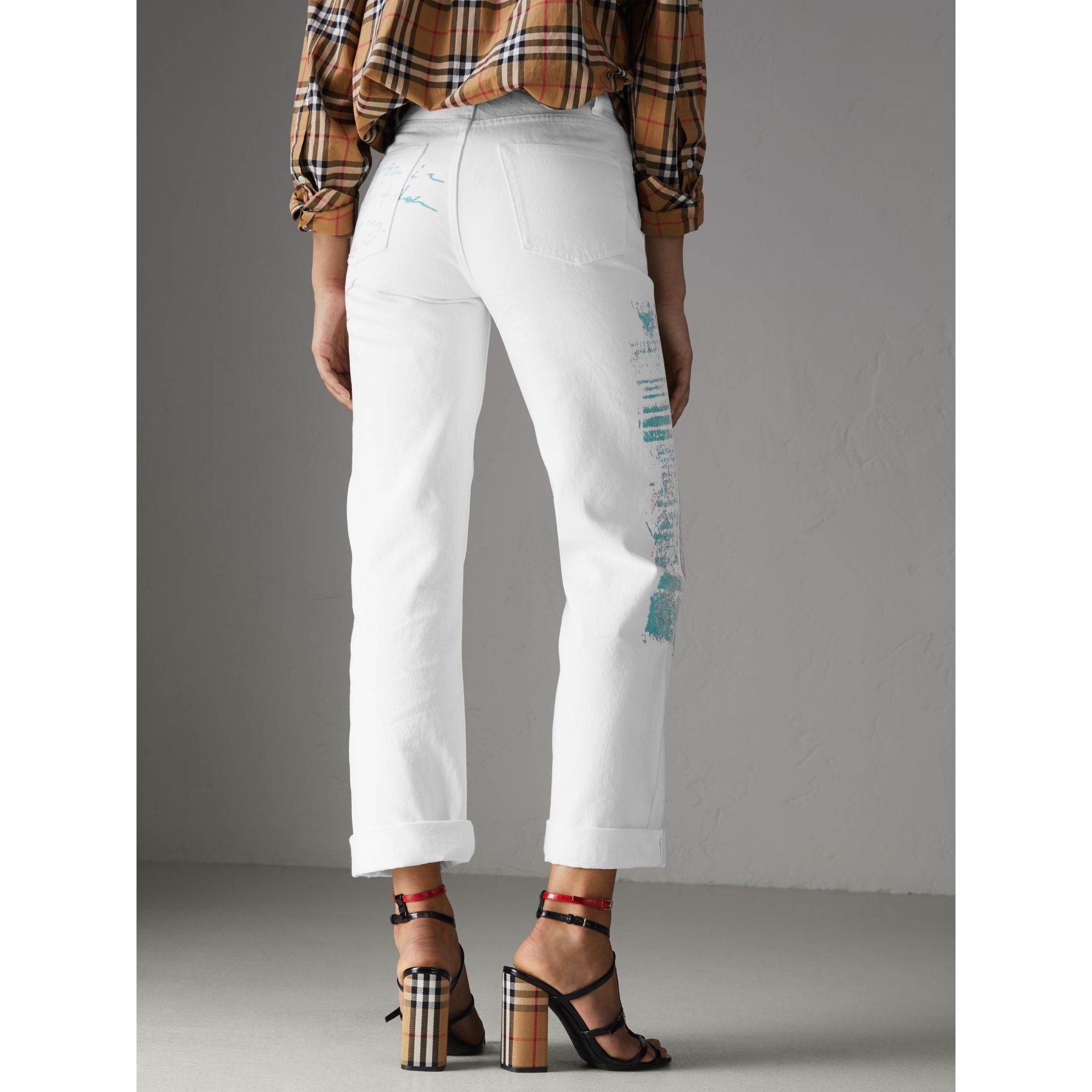 Straight Fit Postcard Print Japanese Denim Jeans in Natural White - Women | Burberry Australia - gallery image 2