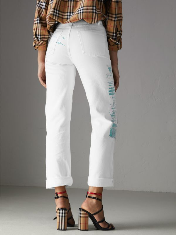 Straight Fit Postcard Print Japanese Denim Jeans in Natural White - Women | Burberry United Kingdom - cell image 2
