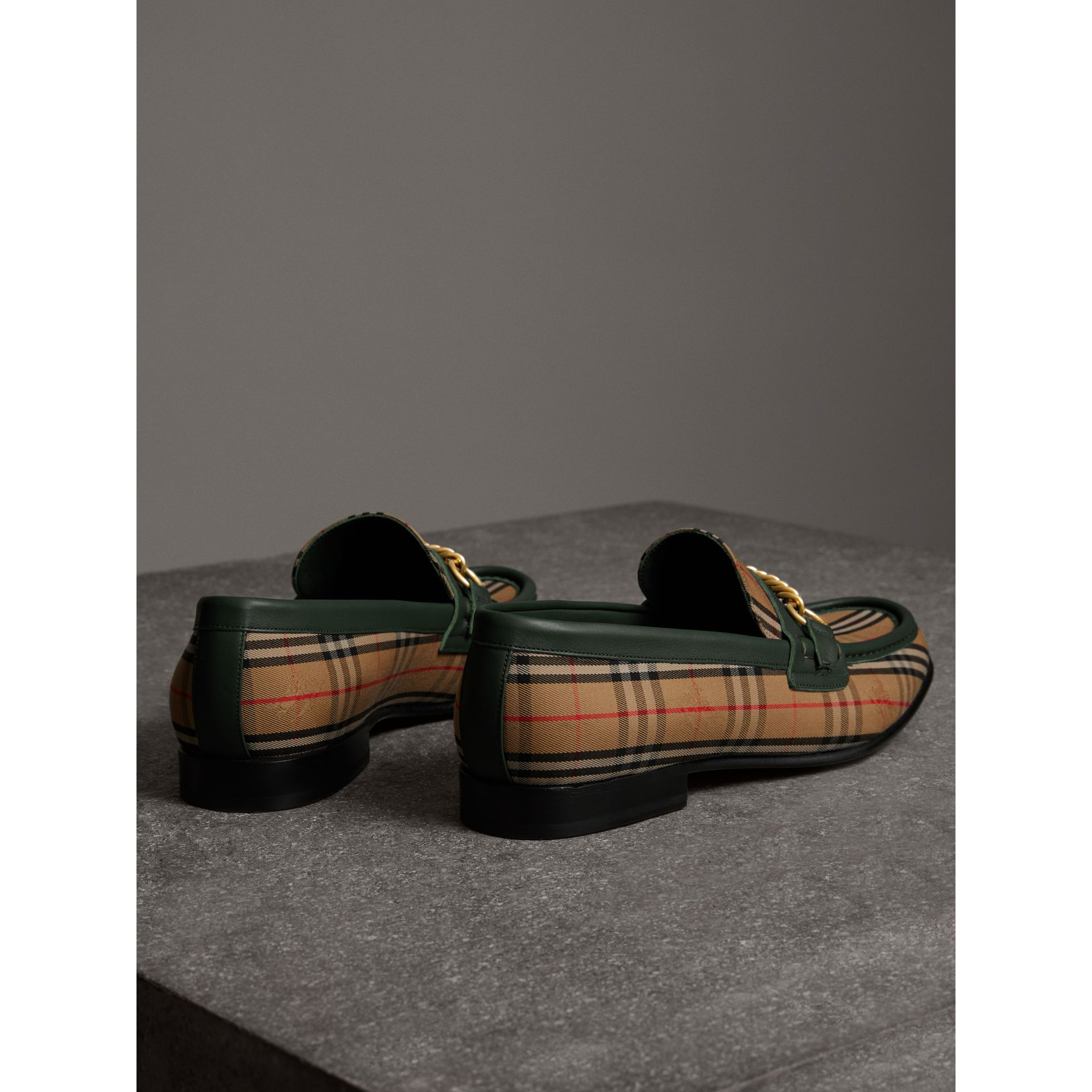 The 1983 Check Link Loafer in Dark Forest Green | Burberry - gallery image 3