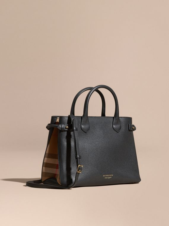 Sac The Banner medium en cuir et coton House check (Noir) - Femme | Burberry