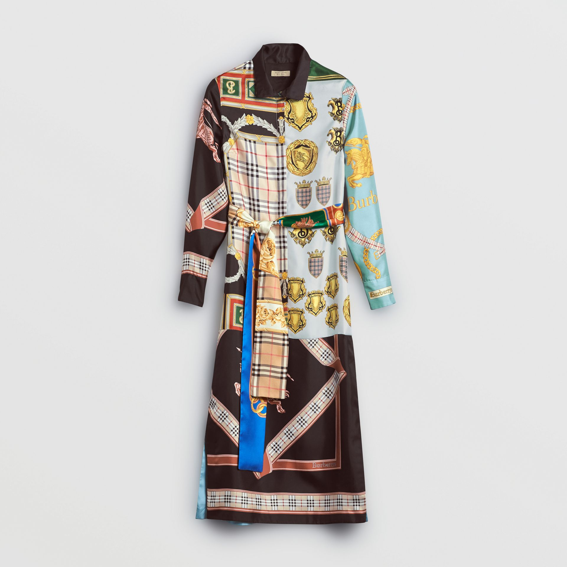 Archive Scarf Print Silk Dress in Antique Yellow - Women | Burberry United Kingdom - gallery image 3