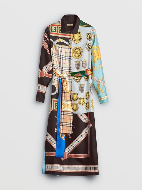 Archive Scarf Print Silk Dress in Antique Yellow - Women | Burberry - cell image 3