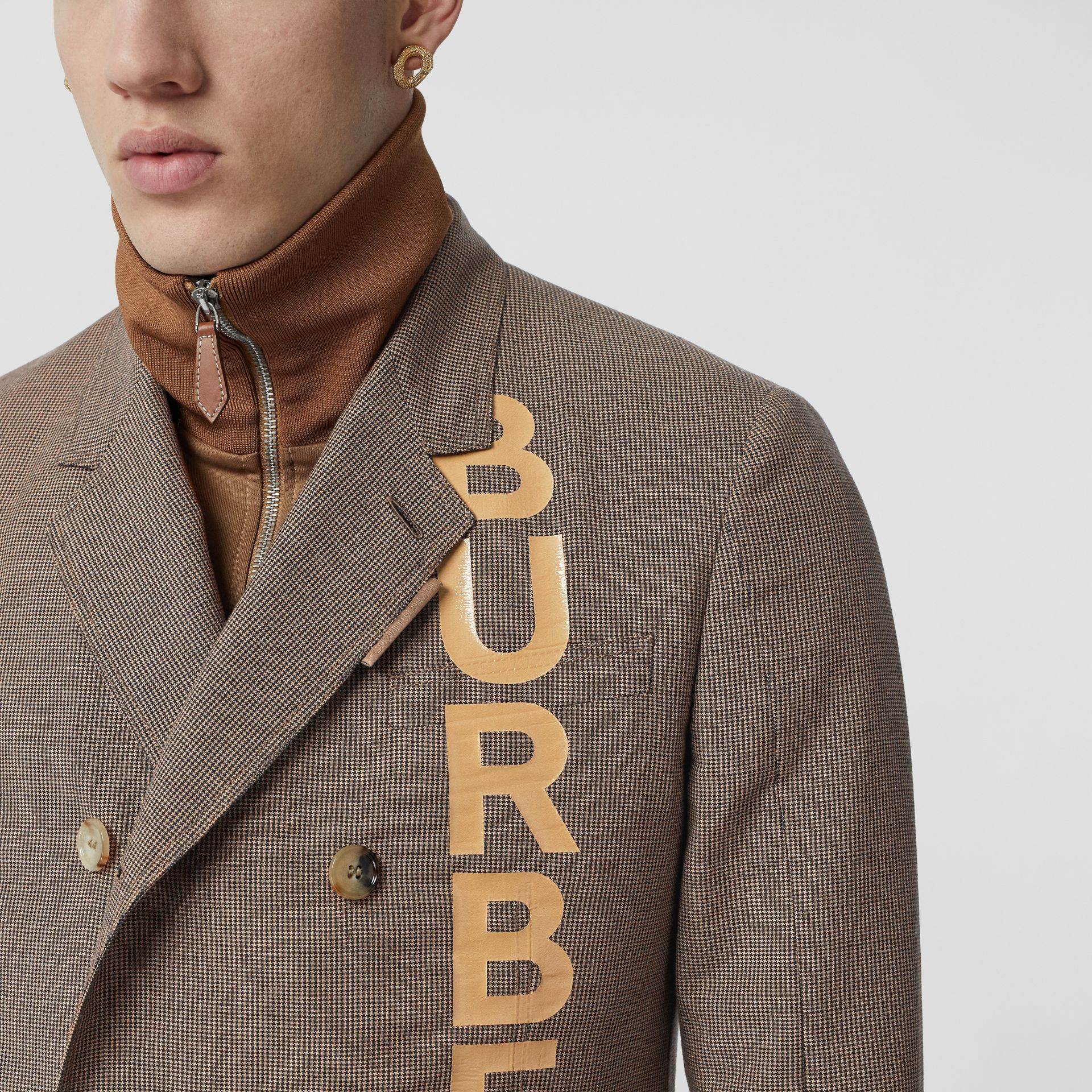 Slim Fit Logo Print Cotton Wool Blend Tailored Jacket in Beige - Men | Burberry - gallery image 6