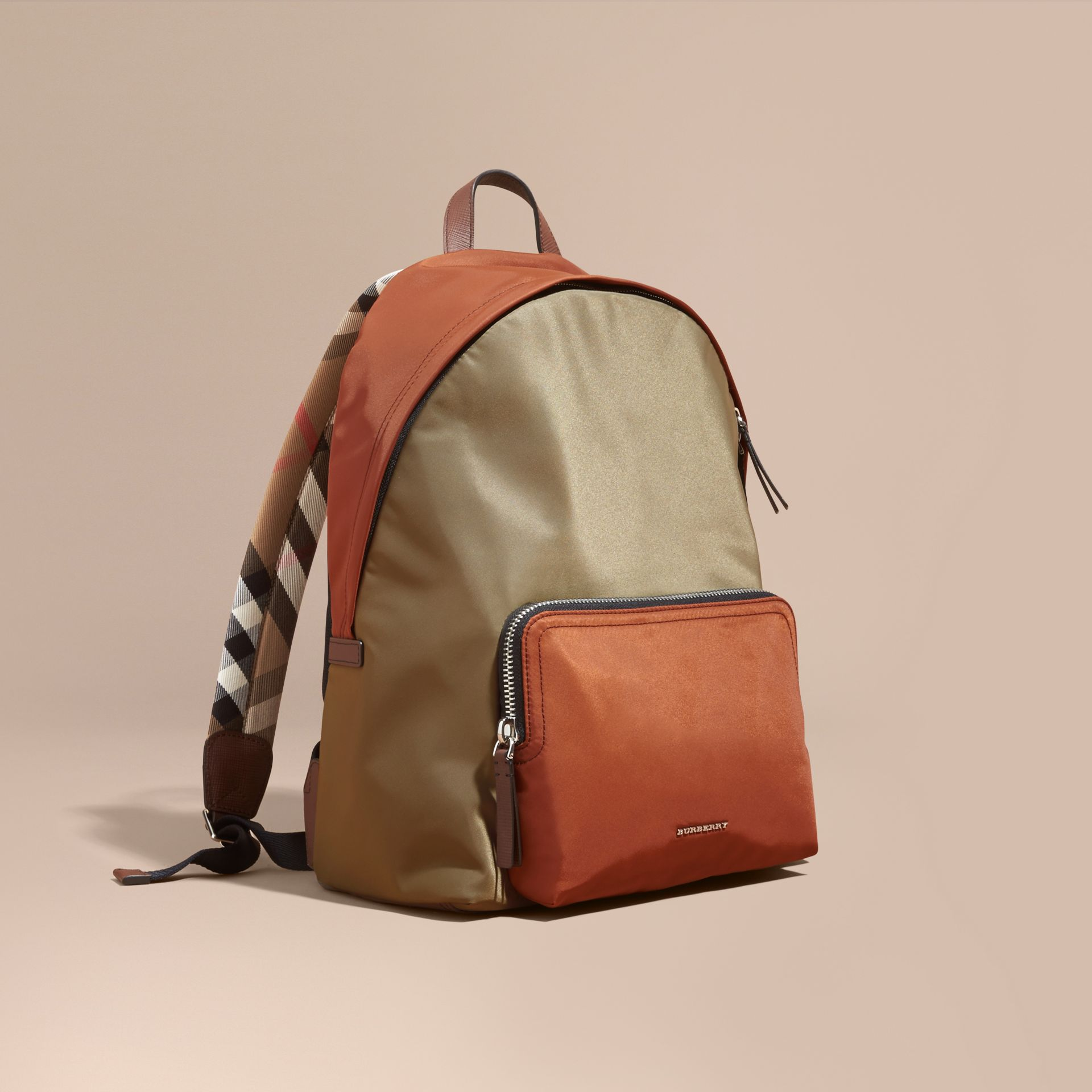 Leather and House Check Trim Technical Backpack Deep Taupe Brown - gallery image 1