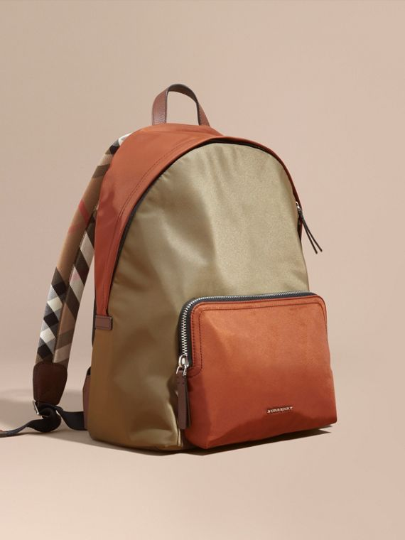 Leather and House Check Trim Technical Backpack Deep Taupe Brown