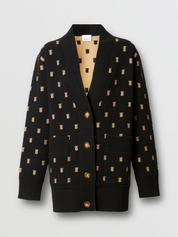 Monogram Wool Cashmere Blend Oversized Cardigan in Black - Women | Burberry - cell image 3