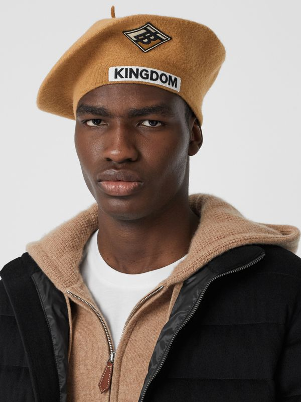 Logo Graphic Merino Wool Beret in Burnt Almond | Burberry United Kingdom - cell image 3