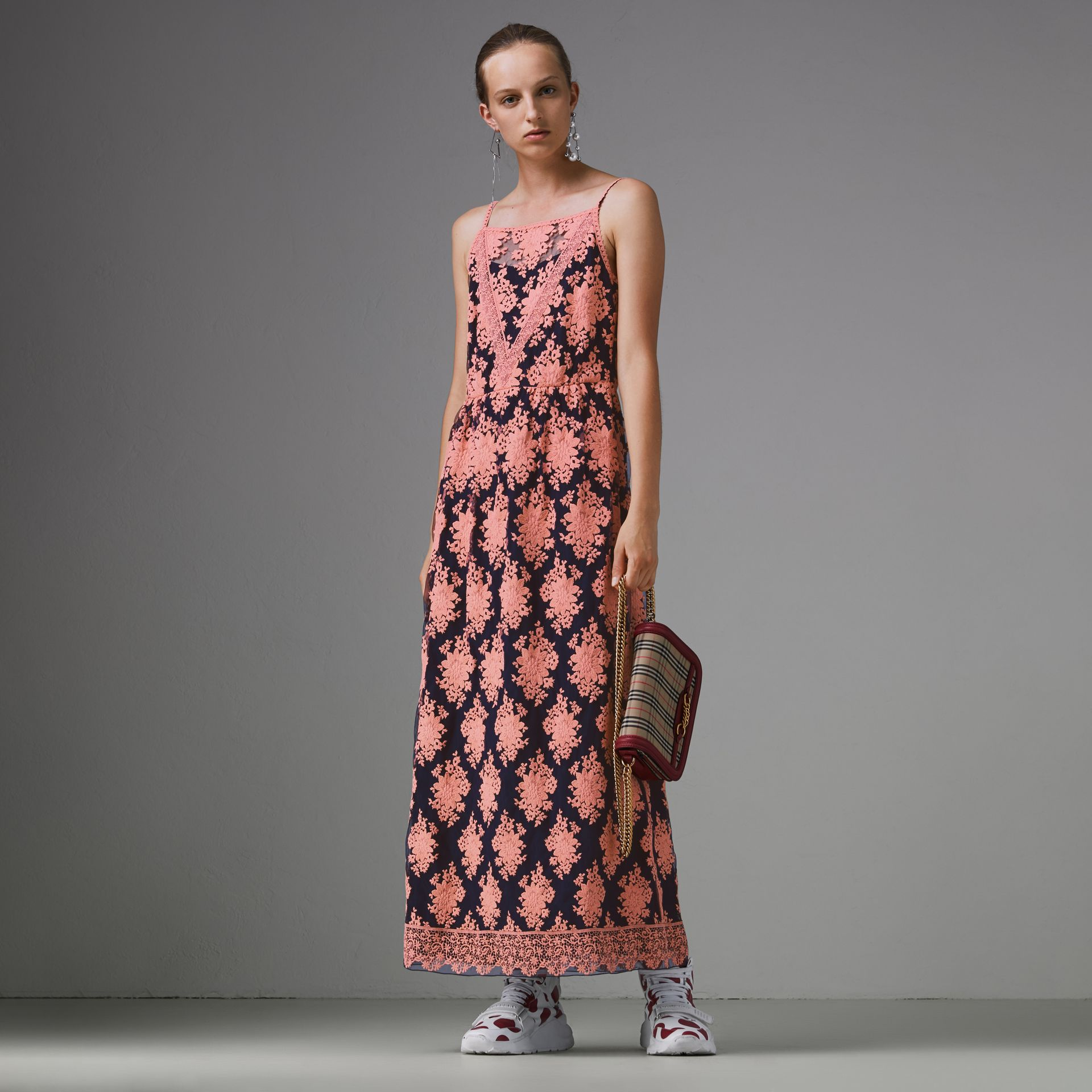 Floral-embroidered Sleeveless Dress in Rose/midnight Blue - Women | Burberry United States - gallery image 4