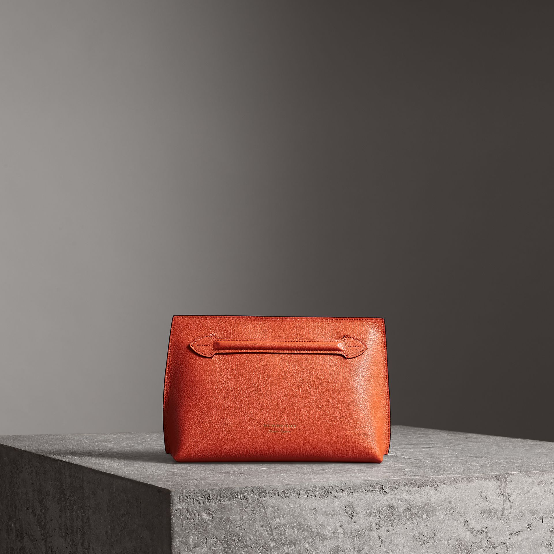 Grainy Leather Wristlet Clutch in Clementine - Women | Burberry Australia - gallery image 0