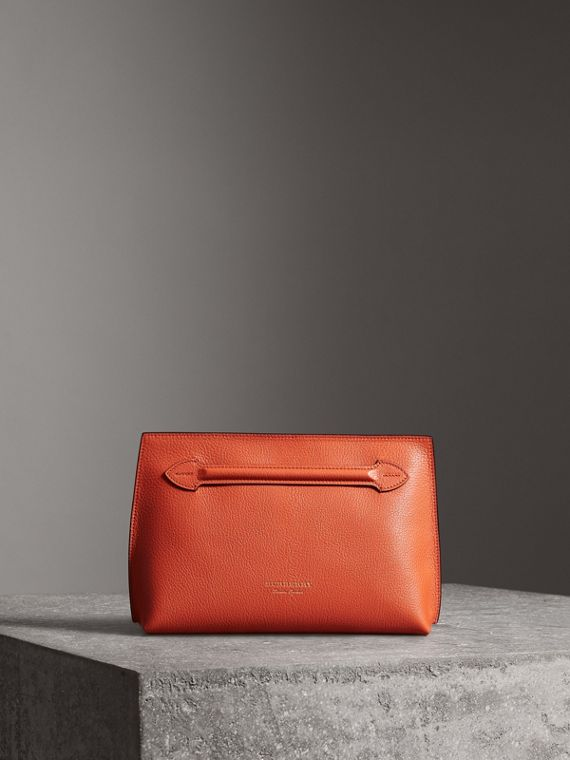 Grainy Leather Wristlet Clutch in Clementine