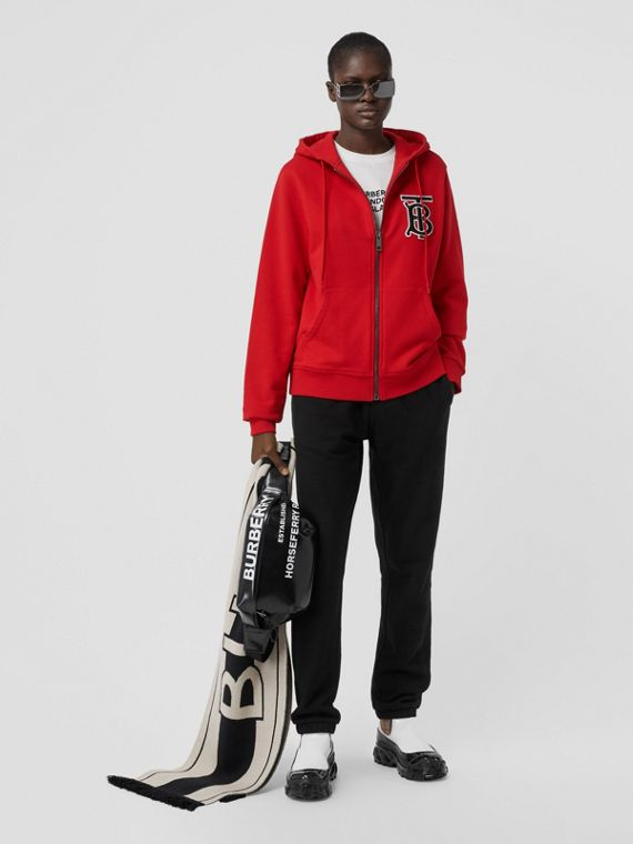 Monogram Motif Cotton Oversized Hooded Top in Bright Red