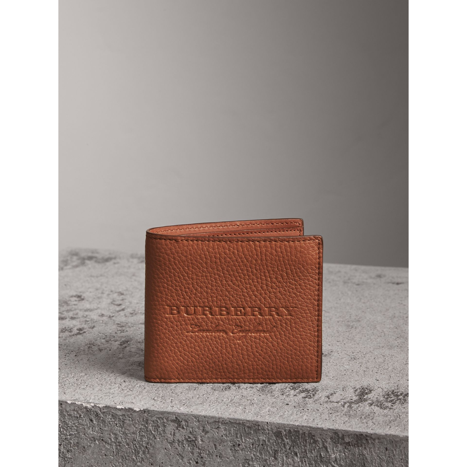 Embossed Leather Bifold Wallet in Chestnut Brown - Men | Burberry - gallery image 4