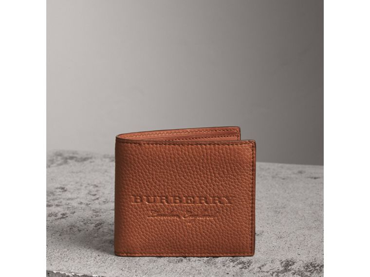 Embossed Leather Bifold Wallet in Chestnut Brown - Men | Burberry - cell image 4
