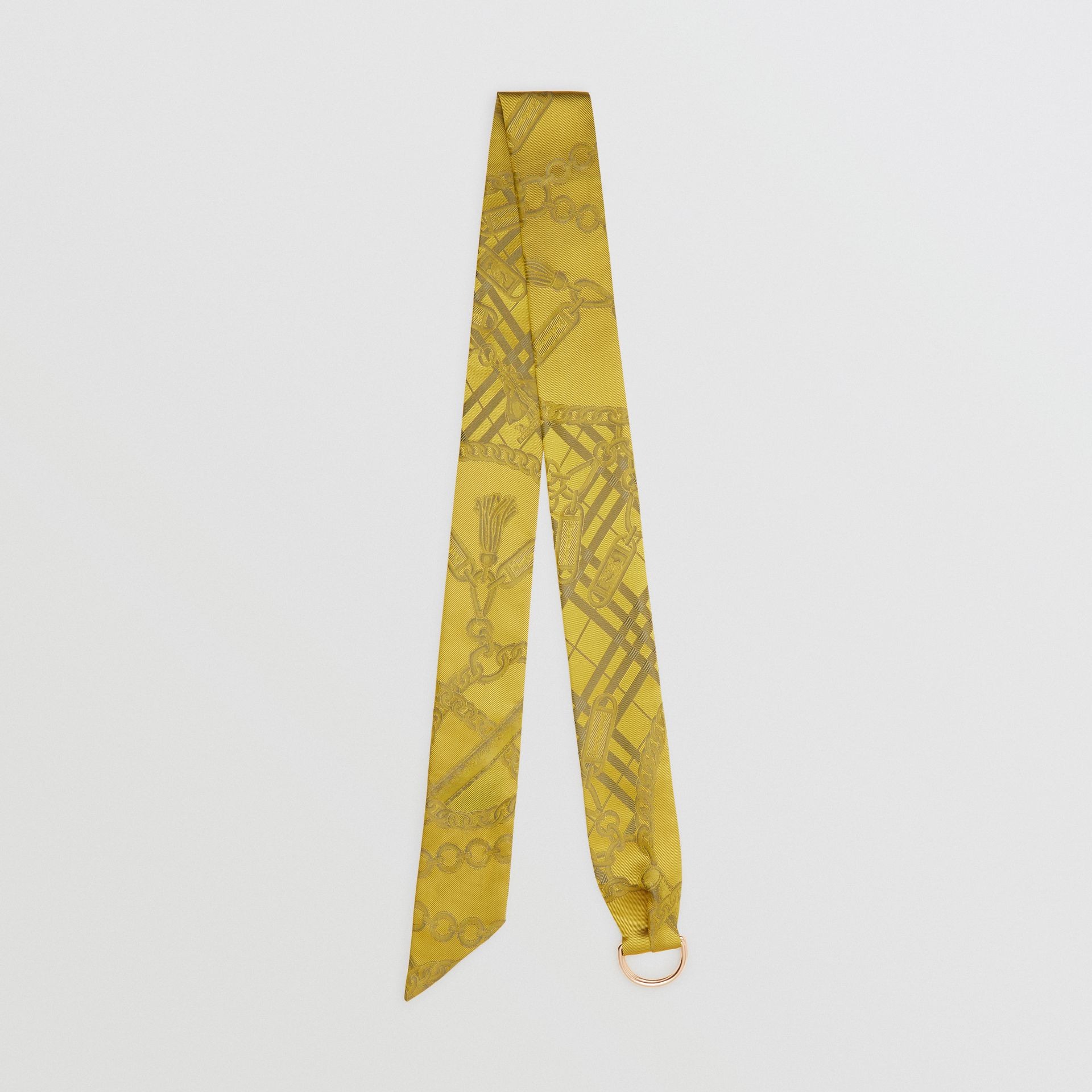 D-ring Detail Chain Silk Jacquard Skinny Scarf in Citrine | Burberry - gallery image 0