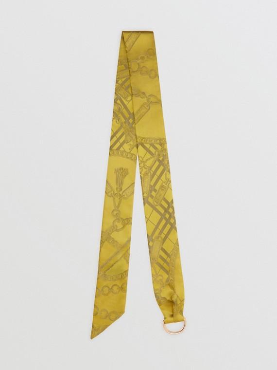 Skinny scarf de seda em jacquard com detalhe de corrente e argola em D (Citrino)
