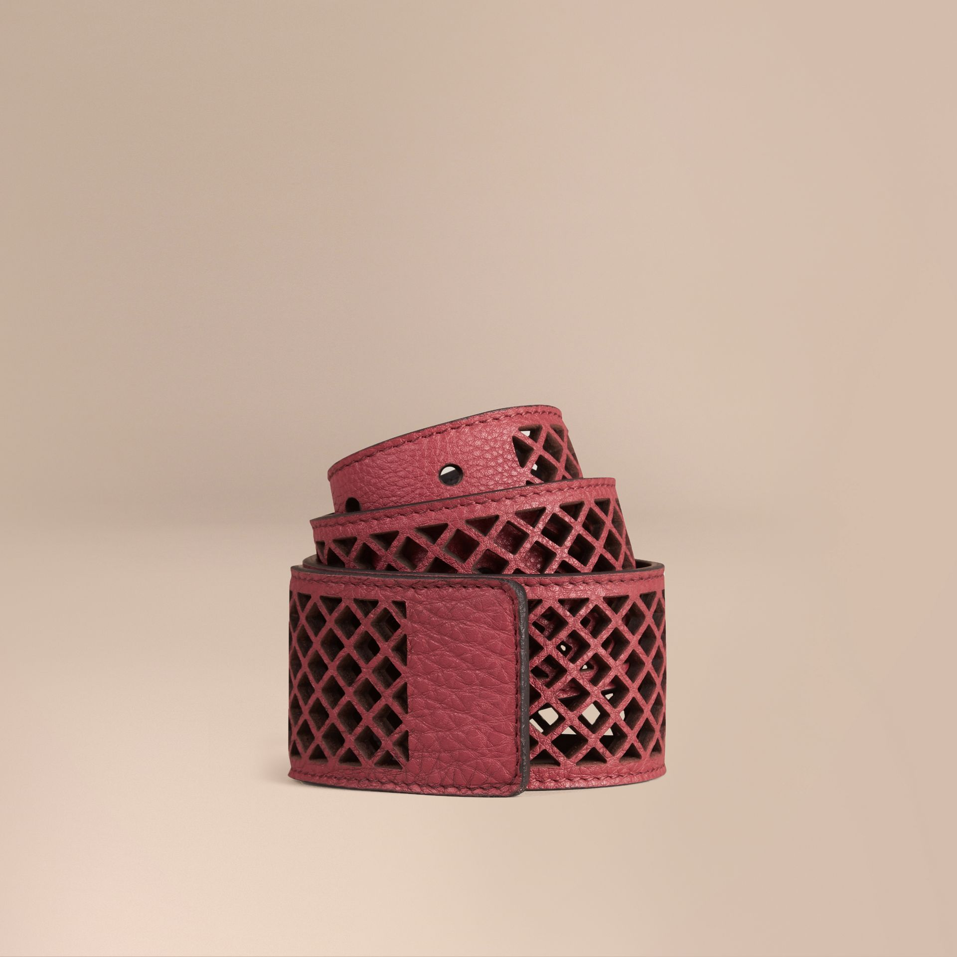 Peony rose Laser-cut Leather Belt - gallery image 1
